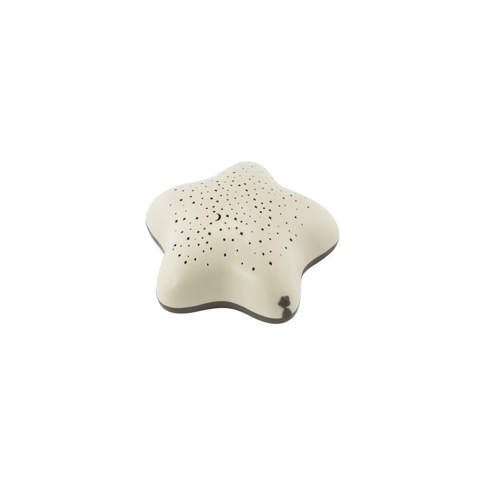 Veilleuse bébé projecteur étoiles USB beige bois Pabobo