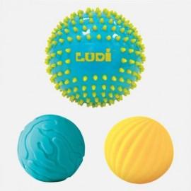 Lot de 3 Balles Sensorielles Bleue et jaune Ludi